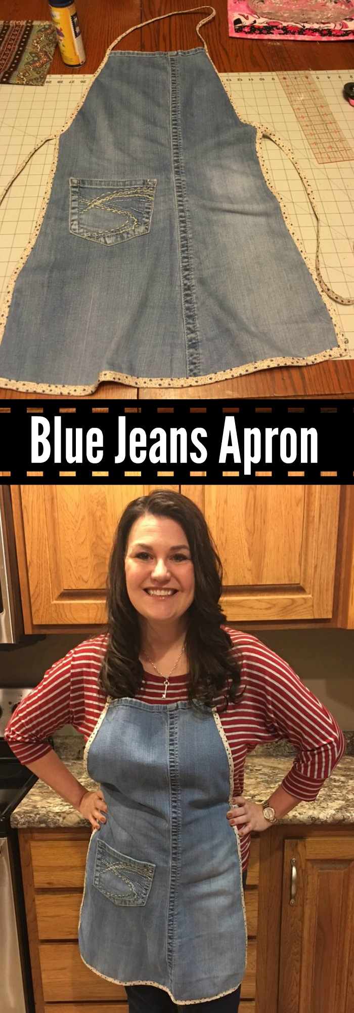 Denim Apron Made Out Of Blue Jeans