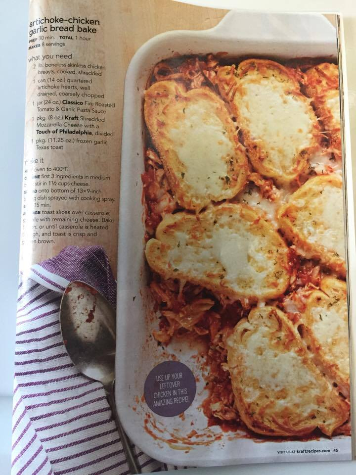 Artichoke Chicken Garlic Bread Bake