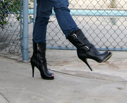 Michael Kors Peeptoe Stiletto Black Boots with Jeans