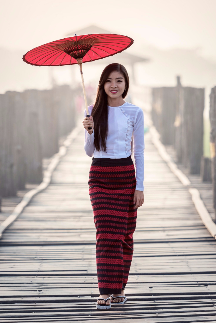White Long Sleeved Shirt with Red & Black Striped Long Skirt