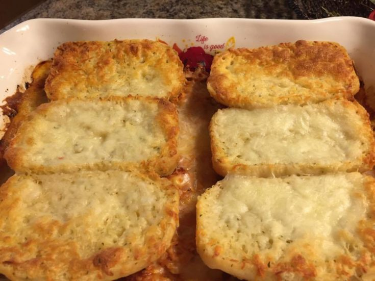 Garlic Toast on top of casserole