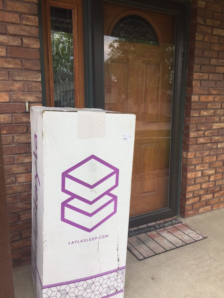 Layla Mattress in a Box by front door