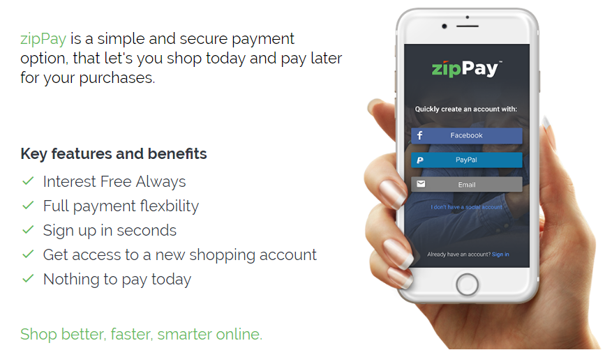 zipPay is a simple and secure payment option, that let's you shop today and pay later for your purchases.