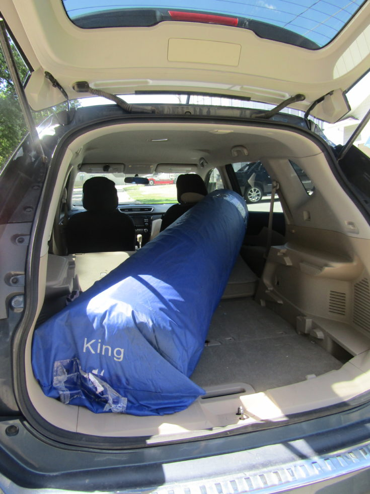 King Size Nectar Mattress in back of car