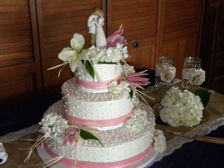 Wedding Cake with Pink Ribbon & Flowers and Willow Tree Figurine on Top