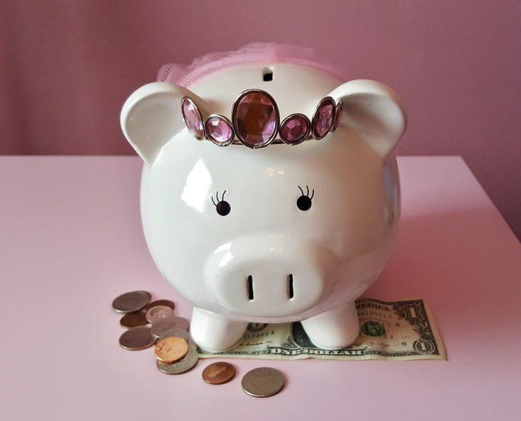 Ballerina Piggy Bank with Pink Tiara Photo