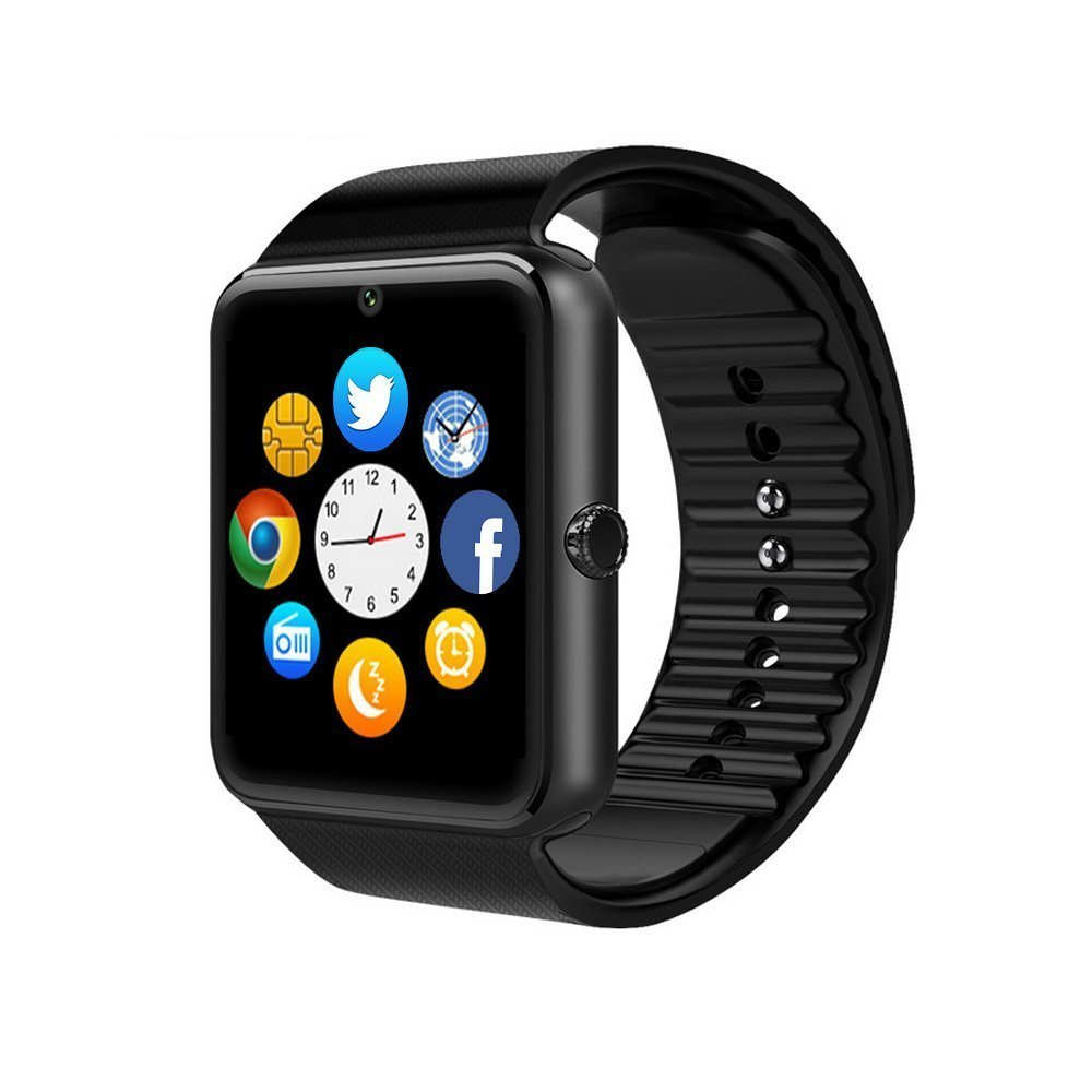 ZAOYI Smartwatch GT08 Bluetooth Smart Watch with Camera SIM Card TF/SD Card Slot Call Sync Notifier and Smart Health Watch for Iphone and Android Smartphones (Black)