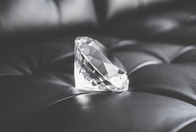 diamond on leather couch