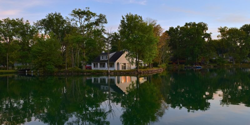 house by lake