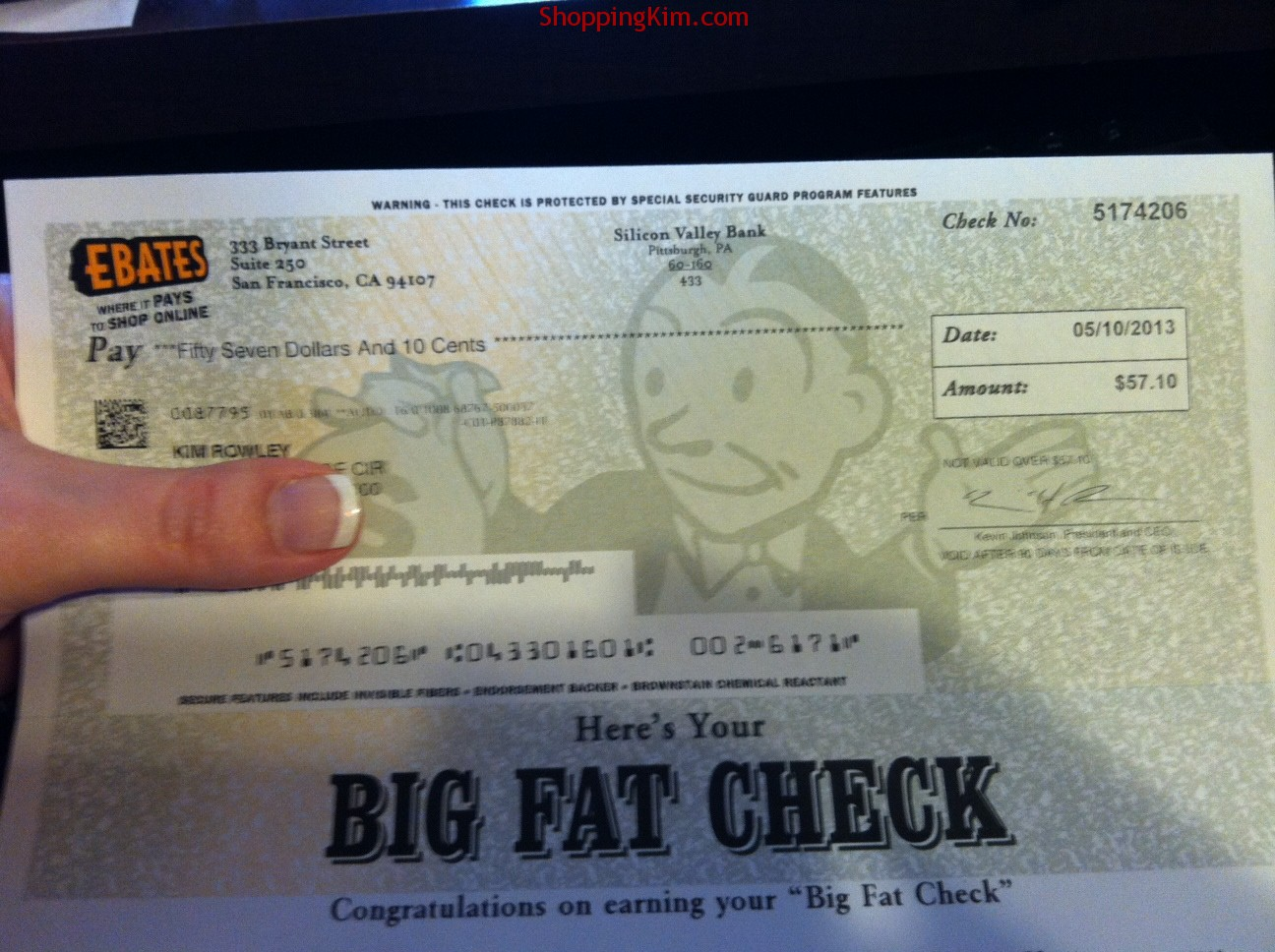 My Big Fat Rebate Check from Ebates